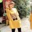 เสื้อคลุม แขนยาว ลายแมวน้อยผูกโบว์ กระเป่าเก๋ๆ สีเหลือง