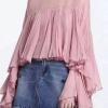 เสื้อแขนยาวแฟชั่นสีชมพู