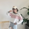 เสื้อแฟชั่นเกาหลี แขนยาวสีขาวและชมพู ไม่มีบุกันหนาว