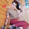 ชุดเซทแฟชั่น เสื้อลายสก๊อต+กางเกงขายาวสีแดงสด