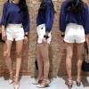 กางเกงยีนส์ขาสั้นแฟชั่น NO.JH823 สีขาว