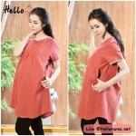 เสื้อคลุม คนท้อง ผ้าทอญี่ปุ่น สีแดงลายจุดขาว ฟรีไซส์