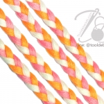เชือกเปียสาม 6มม. สีส้ม-ชมพู-ขาว (1 หลา)