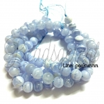 หิน Blue Lace Agate 8มิล (47 เม็ด)