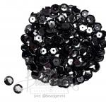 เลื่อมกลม ทรงจาน 8มิล สีดำ (120 กรัม)