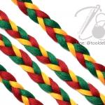เชือกเปียสาม 6มม. สีเขียว-เหลือง-แดง (1 หลา)