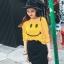 เสื้อแฟชั่น คอกลม แขนยาว ลาย smile สีเหลือง