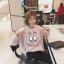 (ภาพจริง) เสื้อแฟชั่น คอกลม แขนยาว ลายปาป้าคลิก สีชมพู